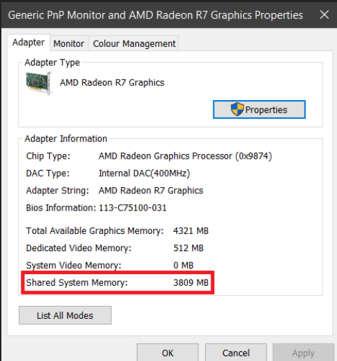 Graphics card AMD Radeon 530 mapped as AMD Radeon (TM) 535DX